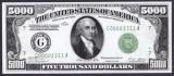 Bancnota Statele Unite ale Americii 5,000 Dolari 1928 - P427 UNC ( replica )