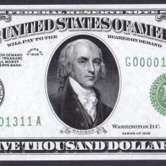 Bancnota Statele Unite ale Americii 5, 000 Dolari 1928 - P427 UNC ( replica ) - bancnota america