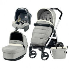 Carucior 3 in 1 Book Plus S Black White POP-UP Elite Luxe Opal - Carucior copii 3 in 1 Peg Perego