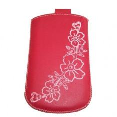 Husa TelOne Special piele rosie desen floral pentru telefon Samsung S3350 Chat 335 - Husa Telefon