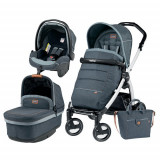 Carucior 3 in 1 Book Plus S Black White POP-UP Elite Blue Denim, Peg Perego