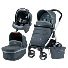 Carucior 3 in 1 Book Plus S Black White POP-UP Elite Blue Denim - Carucior copii 2 in 1 Peg Perego