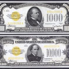 Bancnota Statele Unite ale Americii 1, 000 + 10, 000 Dolari 1934 - P409/410 - bancnota america