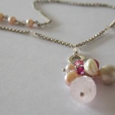 Colier argint cu perle, cuart roz si zirconiu -1549