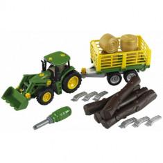 Tractor John Deere cu Remorca pentru Lemne - Masinuta Klein