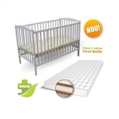 Patut Colour + Saltea Cocos Lux Alb - Patut lemn pentru bebelusi First Smile, 120x60cm