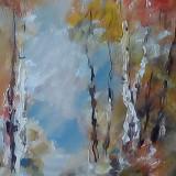 Tablou ulei (15/25cm)- TOAMNĂ - Pictor roman, Flori, Impresionism