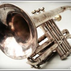 CORNET / TROMPETĂ VECHE - IMPERIAL BOOSEY & HAWKES - LONDON, ALAMĂ ARGINTATĂ!, Trompeta