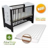 Patut Bruni + Saltea Aloe Vera - Patut lemn pentru bebelusi First Smile, 120x60cm, Maro
