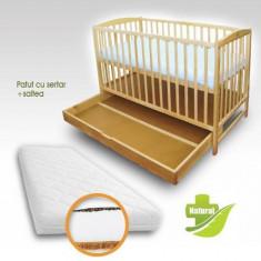 Patut cu Setar Natur + Saltea Cocos cu Hrisca - Patut lemn pentru bebelusi First Smile