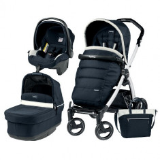 Carucior 3 in 1 Book Plus S Black White POP-UP Elite Luxe Blue - Carucior copii 3 in 1 Peg Perego