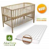 Patut Natur + Saltea Aloe Vera - Patut lemn pentru bebelusi First Smile, 120x60cm, Maro