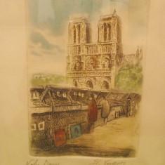 NOTRE DAME de PARIS, veche LITOGRAFIE semnata, inramata, gravura colorata