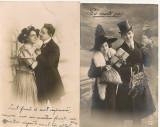 Scene romantice - lot 8 carti postale vechi, Circulata, Printata, Europa