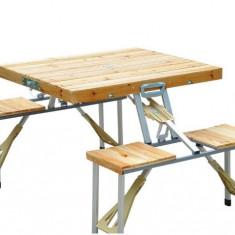 Masa camping cu 4 scaune de lemn pliabila - Mobilier camping