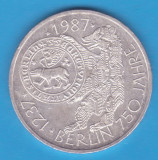 (1) MONEDA DIN ARGINT GERMANIA - 10 MARK 1987, LIT. J - BERLIN - 750 ANI, Europa