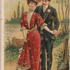 Scene romantice - lot 4 carti postale in relief, Circulata, Printata, Europa