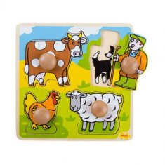 Primul Meu Puzzle Bigjigs - 4 Animale Domestice