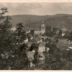 Sighisoara - lot 2 carti postale - interbelice, Circulata, Fotografie, Romania 1900 - 1950