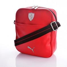 Puma Ferrari LS - Geanta Barbati Puma, Marime: Mica, Culoare: Rosu, Asemanator piele