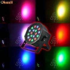 Pachet 4 bucati Proiector Par 18 LED joc lumini DMX 7 canale Flat Light RGB scan - Lumini club