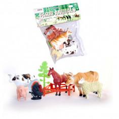 Jucarie Set 5 animale domestice si curcan cu copaci si gard - Figurina Animale