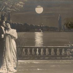 Sub clar de luna - lot 4 carti postale- 1909, Circulata, Printata, Europa
