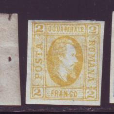 Romania 1865 - Al. I. Cuza cu varietati 3 Par galben si 5 Par pe hartie vargata - Timbre Romania, Istorie, Nestampilat