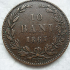 10 bani 1867 Watt, Carol I, L 5.1 - Moneda Romania, Bronz
