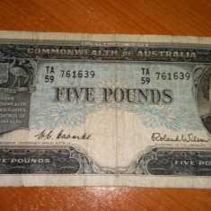 Australia 5 Pounds - 1960 - P35 - Stare F, An: 1953
