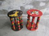 Taburet cu numaratoare, 2 bucati,  jucarie veche romaneasca, perioada comunista