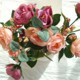 Buchet 9 trandafiri cu frunze verzi - flori artificiale - h 30 cm, peach visiniu
