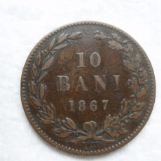 10 bani 1867 Watt, Carol I, L 5.3 - Moneda Romania, Bronz