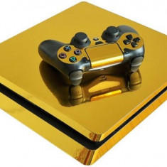 Skin / Sticker Gold Playstation 4 PS4 SLIM + 2 Skin controller, Huse si skin-uri