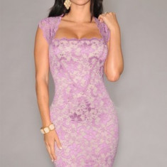 Rochie dantela lila cu jupa nude.Foarte usoara, sexy si eleganta. - Rochie ocazie Donna, Marime: 38