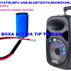 LICHIDARE STOC! BOXA KARAOKE TROLER PE ROTI,AMPLIFICATA,MIXER,MP3 USB,MICROFON.