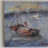In larg 2-pictura ulei pe panza;MacedonLuiza - Pictor roman, Marine, Impresionism
