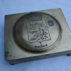 Cutie din alama inscriptionata SKANE AME METALL ESKILSTUNA - Cutie Reclama