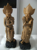 Pereche 2 statuete asiatice ,mari,vechi din alabastru-mandarini,grele -5 Kg.