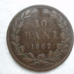10 bani 1867 Heaton, Carol I, L 5.8 - Moneda Romania, Bronz