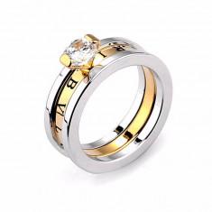 Inel BVLGARI Diamond Silver Rose Crystal - Inel placate cu aur