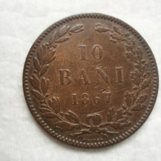 10 bani 1867 Heaton, Carol I,  L 2.43, Bronz