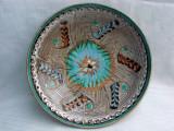 Frumoasa farfurie din ceramica emailata - posibil HOREZU