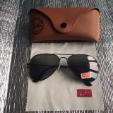 Ochelari de soare Ray Ban aviator rama neagra lentila neagra, Unisex