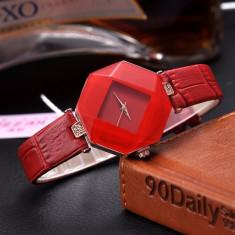 NOU Ceas dama tip diamant hexagon strasuri fashion rosu  GENEVA curea piele eco, Elegant, Quartz