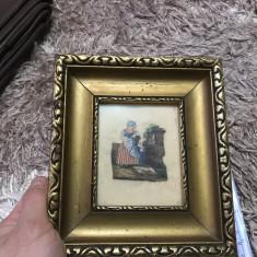 Vechi tablou- lucrat manual- probabil goblen - Tapiterie Goblen