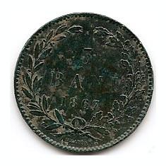 Romania 5 Bani 1867 - Carol I (HEATON) Bronz, 25 mm KM-3.1 - Moneda Romania