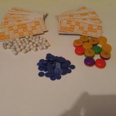Joc vechi de loto loterie - cartone, bile, jetoane, monede plastic