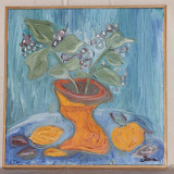 Vas cu flori si fructe - ulei pe panza - Pictor roman, Natura statica, Abstract