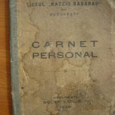 Liceul Matei Basarab - Carnet personal - 1926